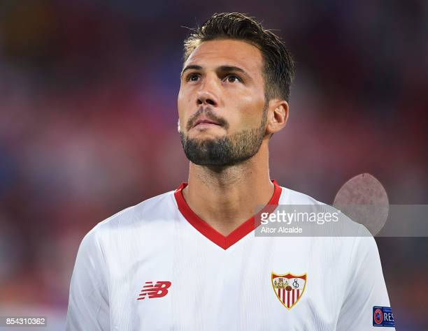 Franco Vazquez of Sevilla FC looks on during the UEFA Champions League match between Sevilla FC and NK Maribor at Estadio Ramon Sanchez Pizjuan on...