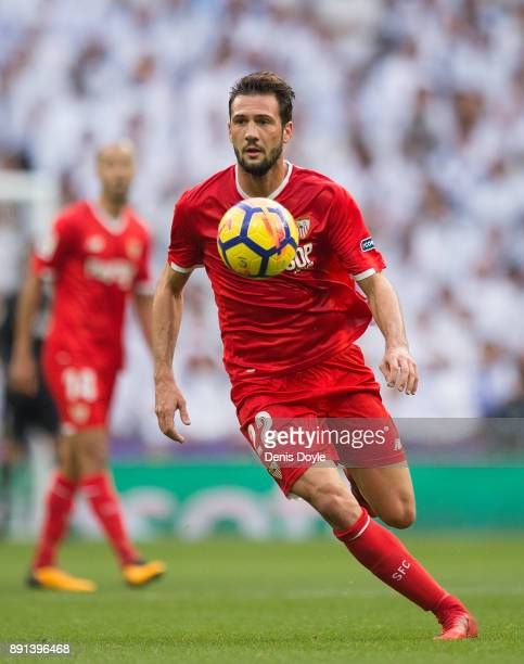 Franco Vazquez of Sevilla in action during the La Liga match between Real Madrid and Sevilla at Estadio Santiago Bernabeu on December 9 2017 in...