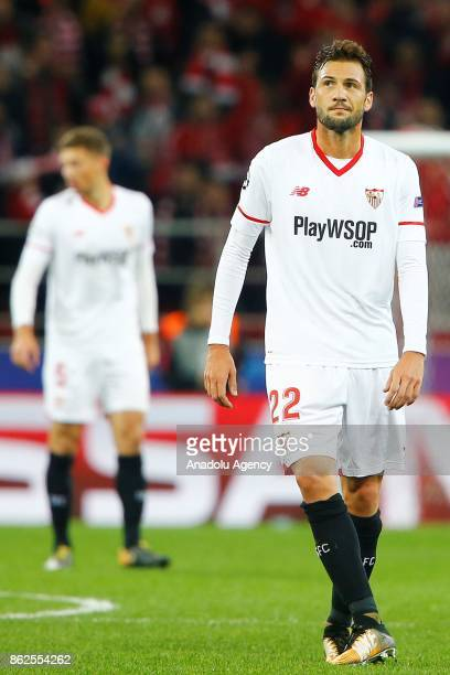 Franco Vazquez of Sevilla is seen dejected after the goal of Spartak Moscow during the UEFA Champions League match between Spartak Moscow and Sevilla...