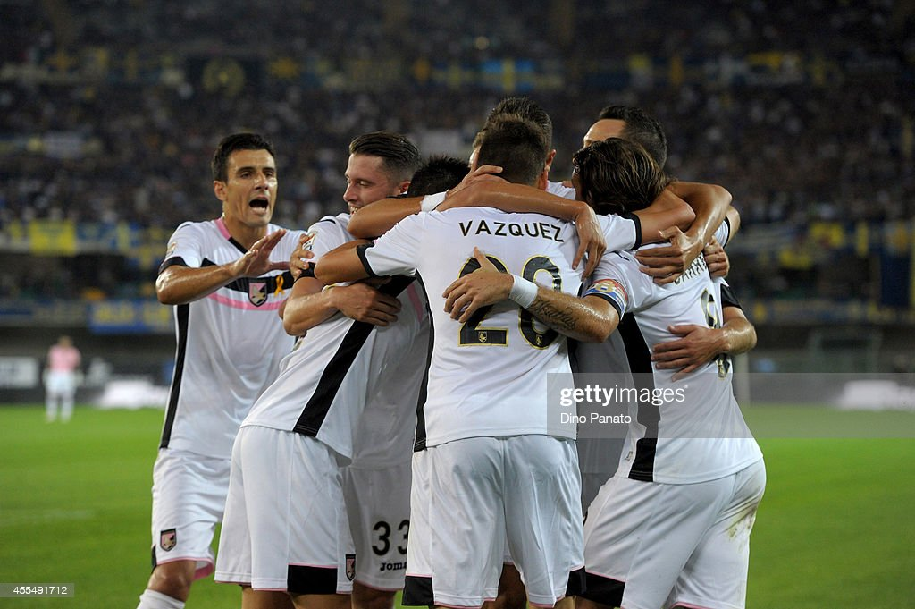Franco Vazquez of US Citta di Palermo celebrates after scoring his opening goal during the Serie A match between Hellas Verona FC and US Citta di Palermo on September15, 2014 in Verona, Italy.