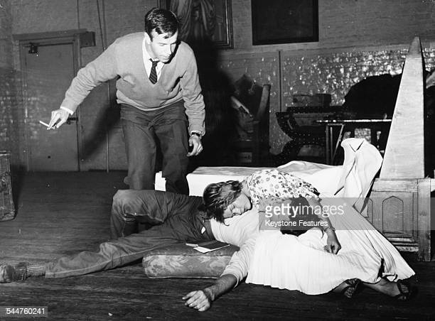 Franco Zeffirelli directing actors Judi Dench and John Stride on stage in the play 'Romeo and Juliet' at the Old Vic London 1960