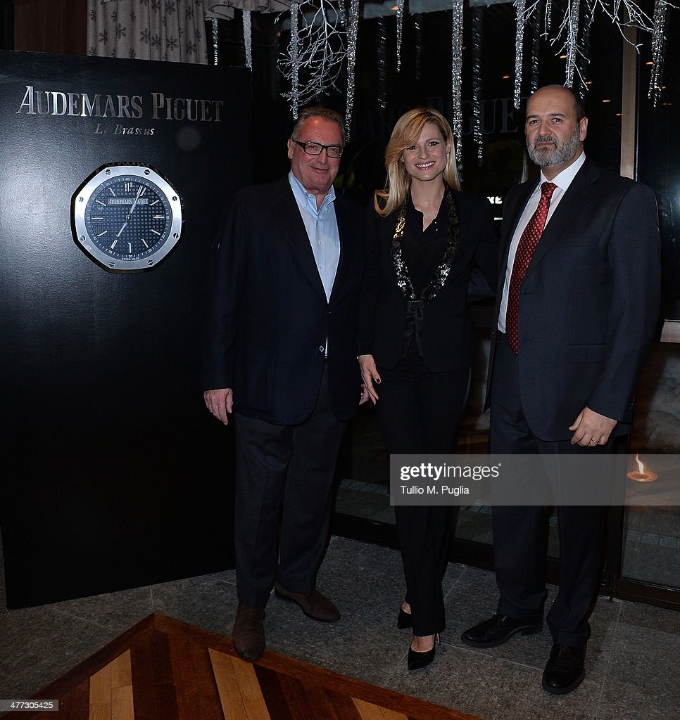 Franco Ziviani Audemars Piguet Italia CEO Michelle Hunziker and Arturo Frixa Marketing General Director of Jaguar Land Rover Italy attend the...