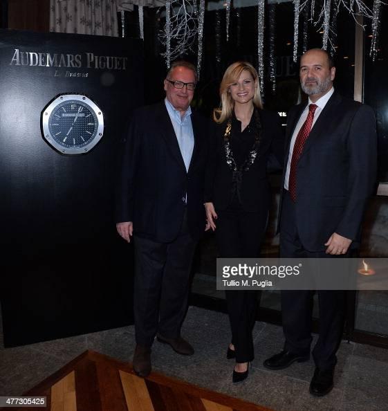 Franco Ziviani Audemars Piguet Italia CEO Michelle Hunziker and Arturo Frixa Marketing General Director of Jaguar Land Rover Italy attend the...