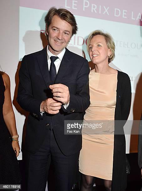 Francois Baroin and 'Prix De La Femme D'Influence Espoir Politique' Virginie Calmels attend the 'Prix De La Femme D'Influence 2014' Ceremony at Hotel...
