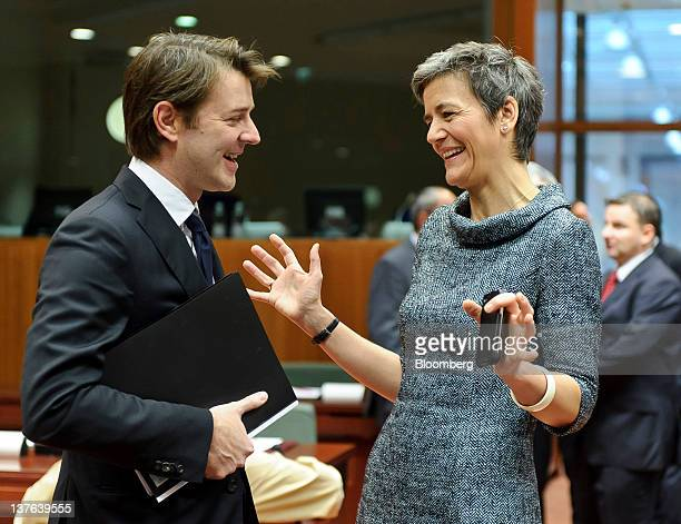 Francois Baroin France's finance minister left speaks with Margrethe Vestager Denmark's economy minister ahead of a meeting of European Union finance...