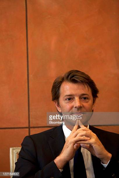 Francois Baroin France's finance minister pauses during a media briefing in Beijing China on Friday Aug 26 2011 Baroin asked at a briefing in Beijing...