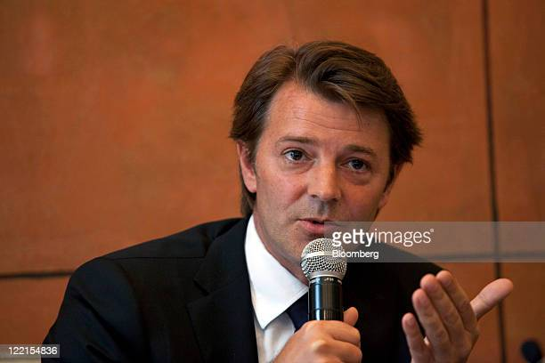 Francois Baroin France's finance minister speaks during a media briefing in Beijing China on Friday Aug 26 2011 Baroin asked at a briefing in Beijing...