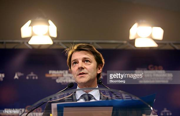 Francois Baroin France's finance minister speaks during a news conference following the Group of 20 finance ministers and central bank governors'...