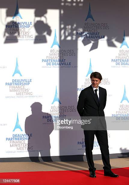 Francois Baroin France's finance minister waits to greet fellow ministers during a meeting of the G7 finance ministers and members of the Deauville...