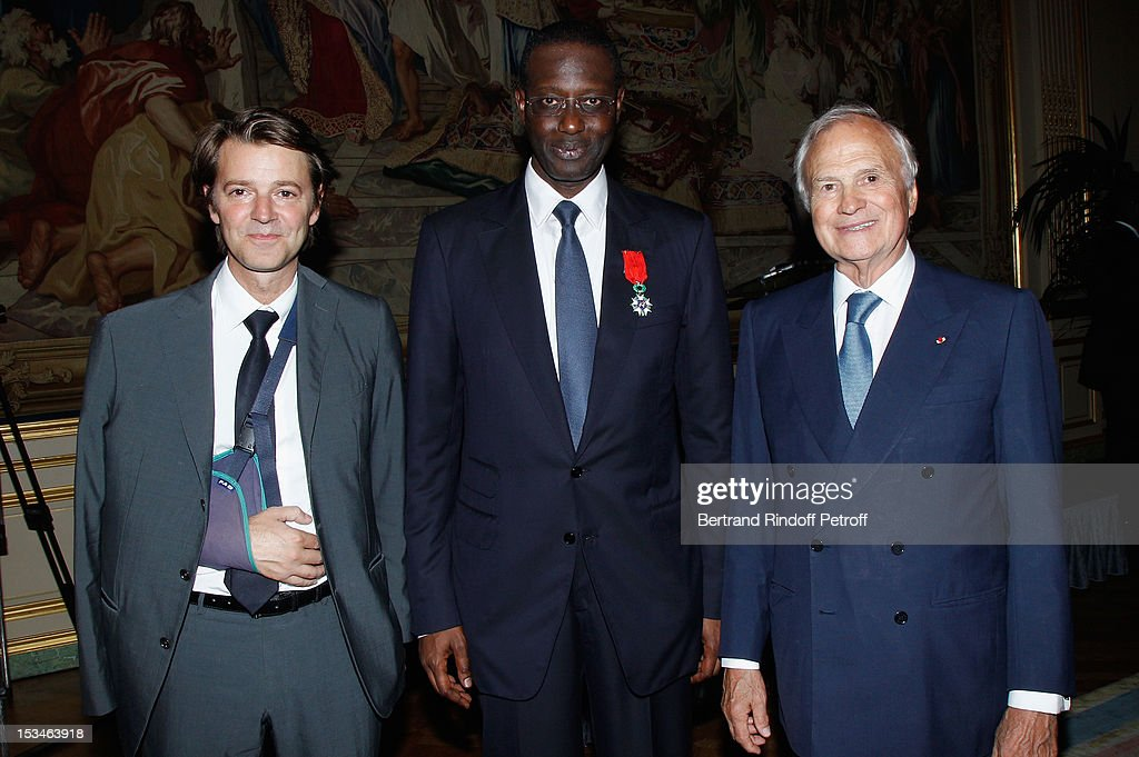 <a gi-track='captionPersonalityLinkClicked' href=/galleries/search?phrase=Francois+Baroin&family=editorial&specificpeople=552822 ng-click='$event.stopPropagation()'>Francois Baroin</a>, Tidjane Thiam President of the ABE and former politician Chief Executive of Prudential and Claude Bebear President of Axa Insurrance at theCercle Interallie on October 5, 2012 in Paris, France.