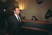 Francois Bayrou arrives at the party's headquarters