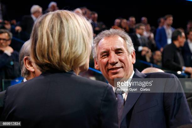 Francois Bayrou attends French Presidential Candidate Emmanuel Macron political meeting on April 17 2017 in Paris France Thousands of supporters...