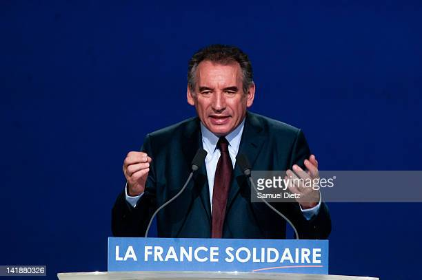 Francois Bayrou candidate for the French centrist party Democratic Movement in the upcoming Presidential elections addresses the audience during a...