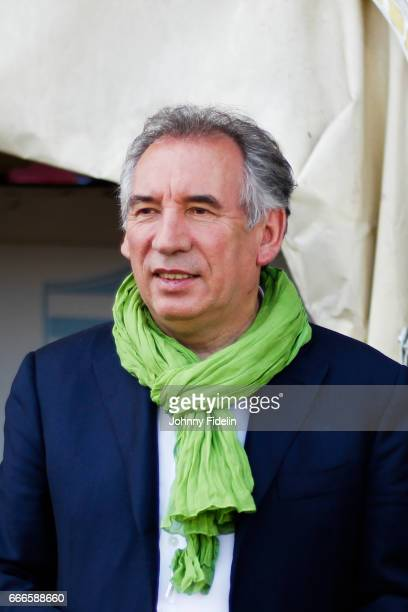 Francois Bayrou mayor of Pau during the Top 14 match between Racing 92 and Section Paloise Pau on April 9 2017 in Colombes France