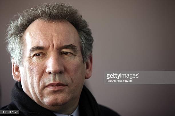 Francois Bayrou met activists at a public meeting Behind him Oliver Henno on the list North West in Arras France on September 03rd 2009