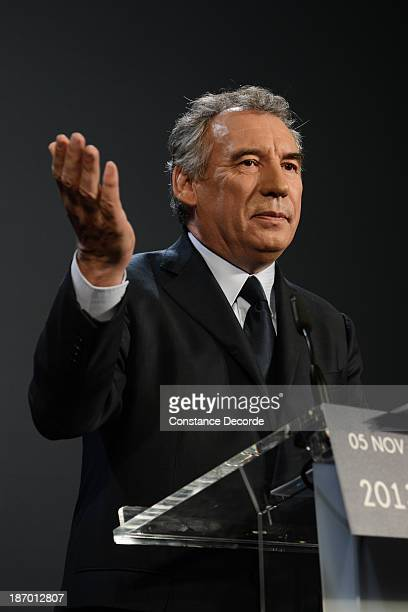 Francois Bayrou speaking at the ModemUDI common press conference at Maison de La Chimie on November 5 2013 in Paris France