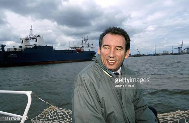 Francois Bayrou visits St Nazaire Harbour of Estuary in Saint Nazaire France on June 09 1999 Senegalese riflemen