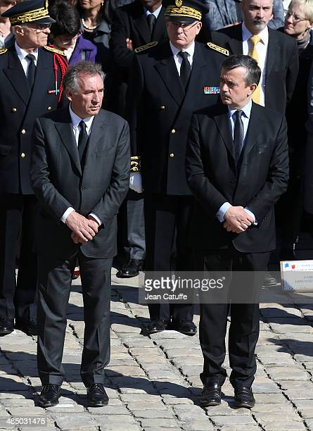 Francois Bayrou Yves Jego attend the National Tribute honoring the late journalist then politician Dominique Baudis at Hotel des Invalides on April...