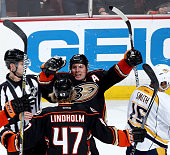 Francois Beauchemin and Hampus Lindholm of the Anaheim Ducks celebrate Beauchemin's game tying goal in regulation against the Nashville Predators on...