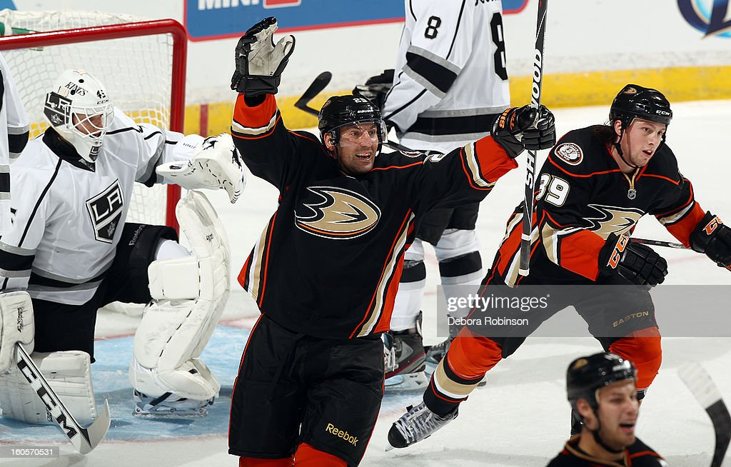 Francois Beauchemin #23 of the Anaheim Ducks celebrates a goal scored during the game against the Los Angeles Kings on February 2, 2013 at Honda Center in Anaheim, California.