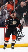 Francois Beauchemin of the Anaheim Ducks celebrates after scoring a goal in the second period against the San Jose Sharks on December 31 2013 at...