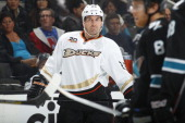 Francois Beauchemin of the Anaheim Ducks during a break in play against the San Jose Sharks at SAP Center on December 29 2013 in San Jose California