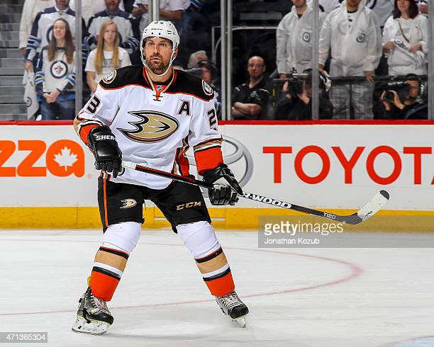 Francois Beauchemin of the Anaheim Ducks keeps an eye on the play during third period action against the Winnipeg Jets in Game Four of the Western...