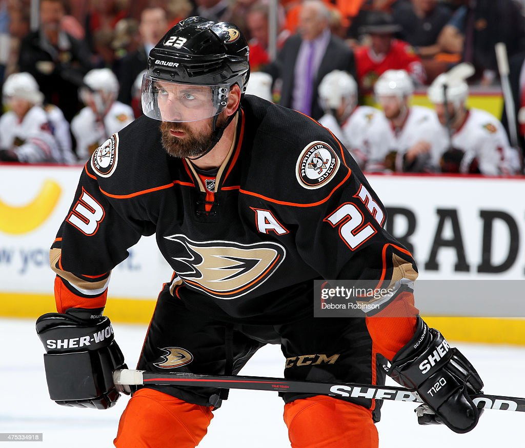 Francois Beauchemin of the Anaheim Ducks looks on during the game against the Chicago Blackhawks in Game Seven of the Western Conference Finals...