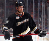 Francois Beauchemin of the Anaheim Ducks looks on during the game against the Nashville Predators on April 4 2014 at Honda Center in Anaheim...