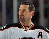 Francois Beauchemin of the Anaheim Ducks looks on prior to the game against the New Jersey Devils at the Prudential Center on March 29 2015 in Newark...