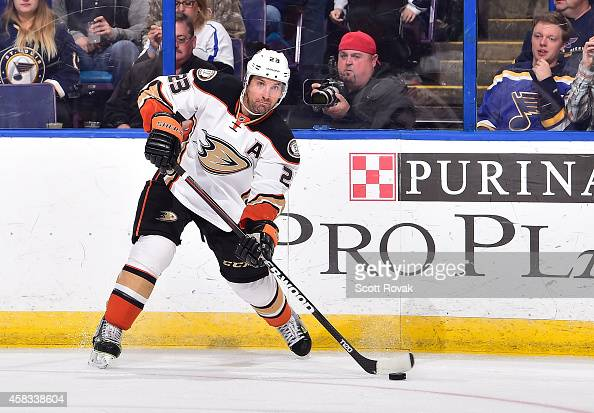 Francois Beauchemin of the Anaheim Ducks passes the puck against the St Louis Blues on October 30 2014 at Scottrade Center in St Louis Missouri