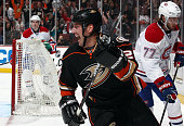 Francois Beauchemin of the Anaheim Ducks reacts after scoring against Tom Gilbert of the Montreal Canadiens on March 4 2015 at Honda Center in...