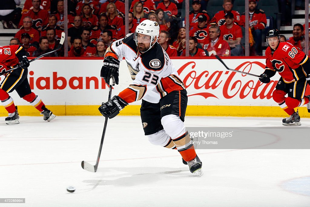 Francois Beauchemin of the Anaheim Ducks skates against the Calgary Flames at Scotiabank Saddledome for Game Three of the Western Quarterfinals...
