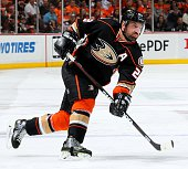 Francois Beauchemin of the Anaheim Ducks skates against the Calgary Flames in Game One of the Western Conference Semifinals during the 2015 NHL...