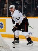 Francois Beauchemin of the Anaheim Ducks skates against the Nashville Predators at Bridgestone Arena on January 9 2014 in Nashville Tennessee