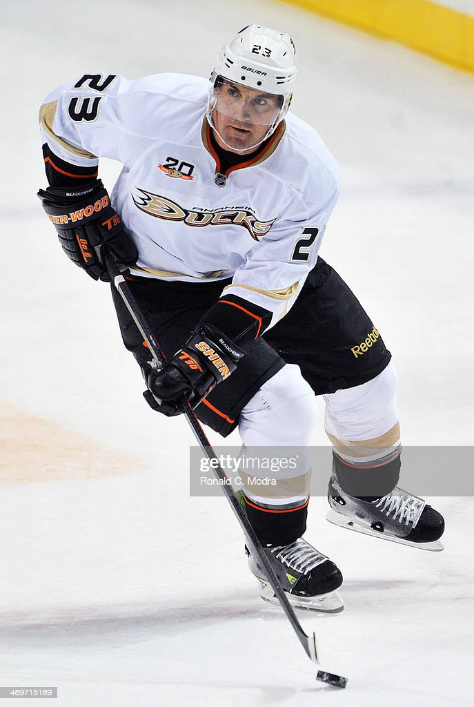 Francois Beauchemin of the Anaheim Ducks skates during a NHL game against the Nashville Predators at Bridgestone Arena on February 8 2014 in...