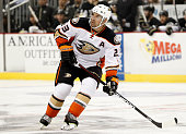 Francois Beauchemin of the Anaheim Ducks skates during the season opener against the Pittsburgh Penguins at Consol Energy Center on October 9 2014 in...