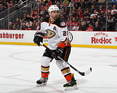 Francois Beauchemin of the Anaheim Ducks skates during the second period against the New Jersey Devils at the Prudential Center on March 29 2015 in...