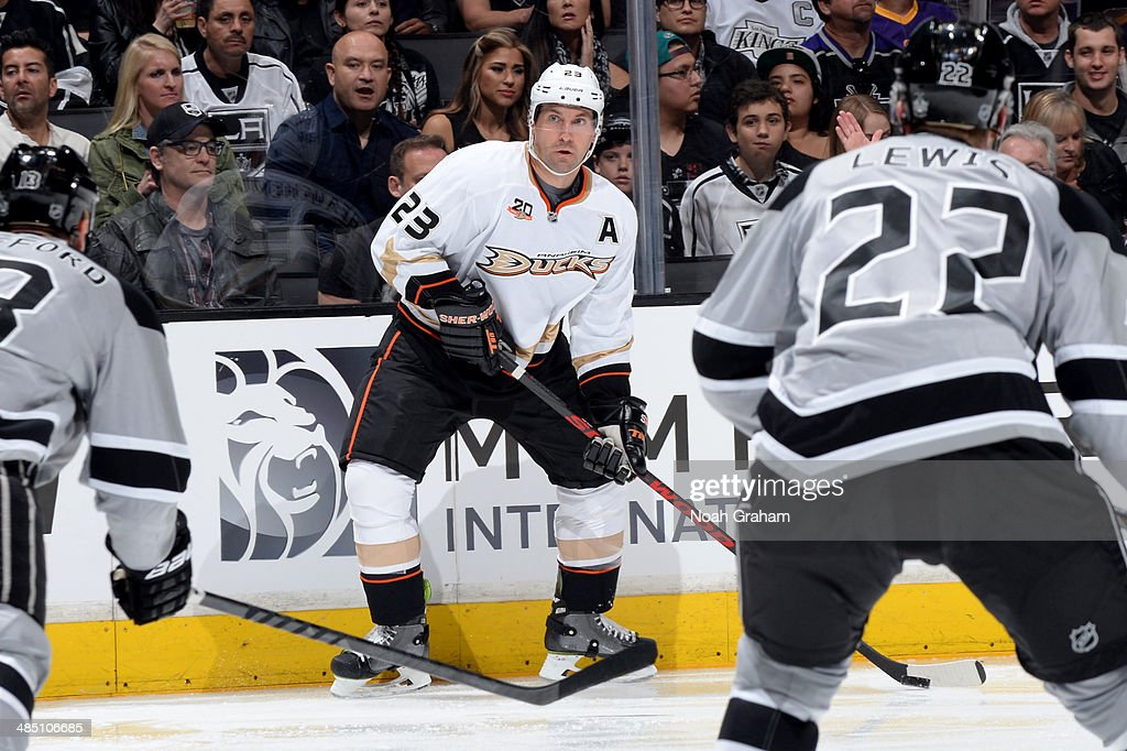 Francois Beauchemin #23 of the Anaheim Ducks skates with the puck against the Los Angeles Kings at Staples Center on April 12, 2014 in Los Angeles, California.