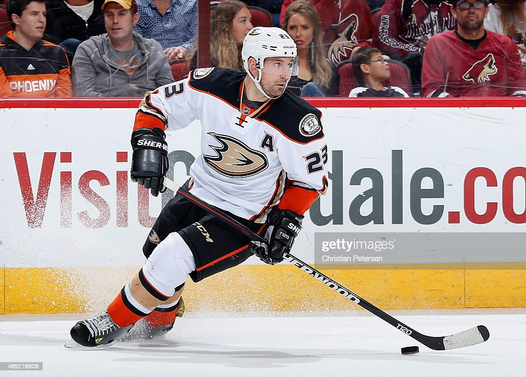 Francois Beauchemin of the Anaheim Ducks skates with the puck during the NHL game against the Arizona Coyotes at Gila River Arena on March 3 2015 in...