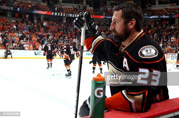Francois Beauchemin of the Anaheim Ducks watches warmups before taking on the Chicago Blackhawks in Game Seven of the Western Conference Finals...