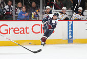 Francois Beauchemin of the Colorado Avalanche shoots and scores the goahead goal against the Buffalo Sabres with less than a minute remaining at the...