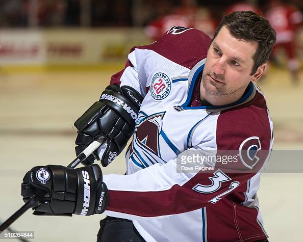 Francois Beauchemin of the Colorado Avalanche shoots the puck in warmups prior to the NHL game against the Detroit Red Wings at Joe Louis Arena on...