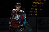 Francois Beauchemin of the Colorado Avalanche stands on the blue line before the first period against the Calgary Flames at the Pepsi Center on...