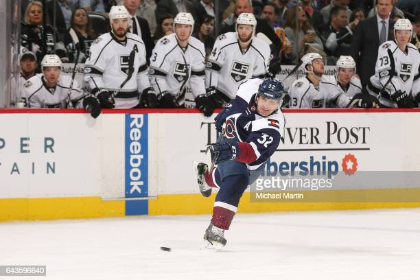 Francois Beauchemin of the Colorado Avalanche takes a shot against the Los Angeles Kings at the Pepsi Center on February 21 2017 in Denver Colorado...
