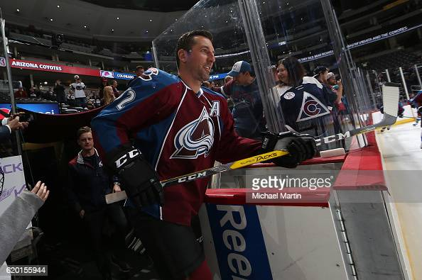 Francois Beauchemin of the Colorado Avalanche takes to the ice during warm ups prior to the game against the Nashville Predators at the Pepsi Center...
