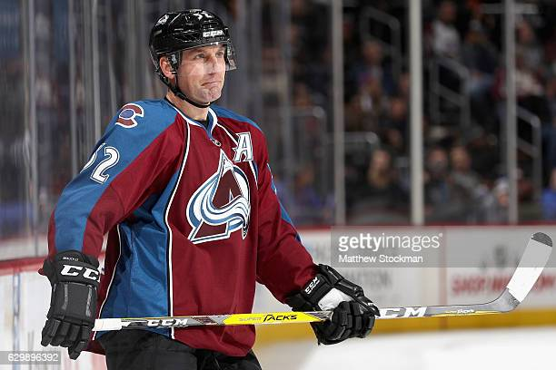 Francois Beauchemin of the Colorado Avalanche waits for play to resume against the Philadelphia Flyers at the Pepsi Center on December 14 2016 in...