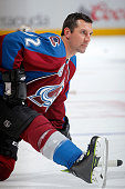 Francois Beauchemin of the Colorado Avalanche warms up prior to facing the Minnesota Wild at Pepsi Center on October 8 2015 in Denver Colorado The...