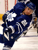 Francois Beauchemin of the Toronto Maple Leafs shoots during warmups before a preseason NHL game at the Air Canada Centre on September 22 2009 in...