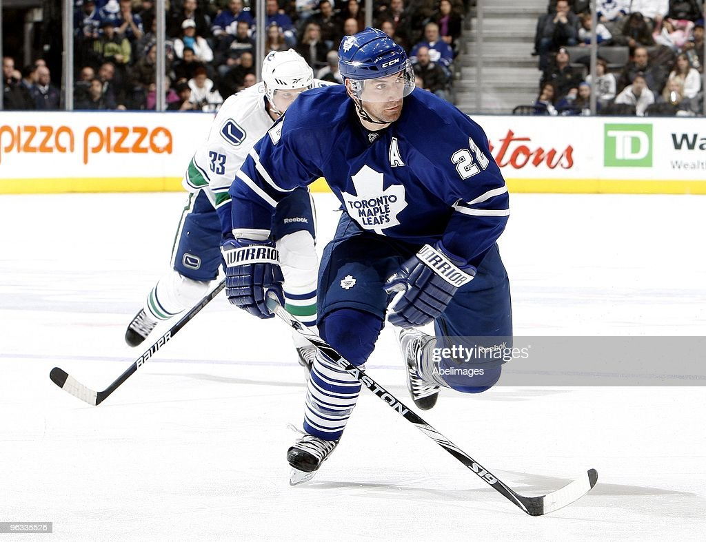 Francois Beauchemin of the Toronto Maple Leafs skates up the ice during game action against the Vancouver Canucks January 30 2010 at the Air Canada...